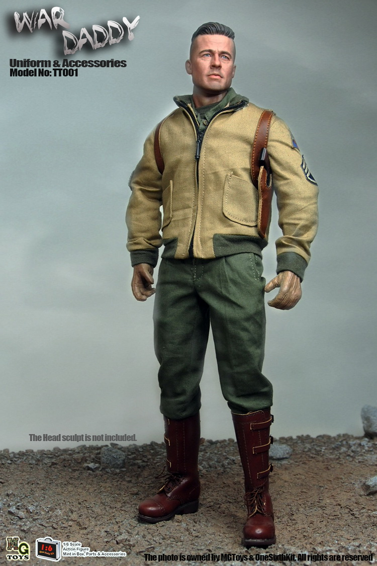 1/6 Figure doll WWII American tank soldier Fury WAR DADDY clothes or full Brad Pitt.12 action figures doll.Collectible figure