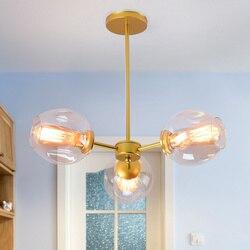Loft minimalistyczne żyrandole Beanstalk LED Retro lampy artystyczna dekoracja światła E27 szklany żyrandol przemysłowy do restauracji