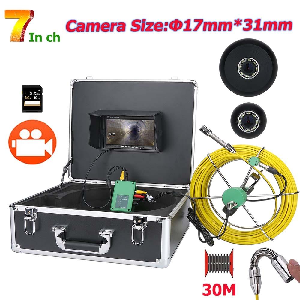 Câmera de vídeo industrial da inspeção do esgoto da tubulação 1000tvl da câmera 17mm do endoscópio do dvr de 7 polegadas com 8 pces conduziu o cartão 8 gb sd