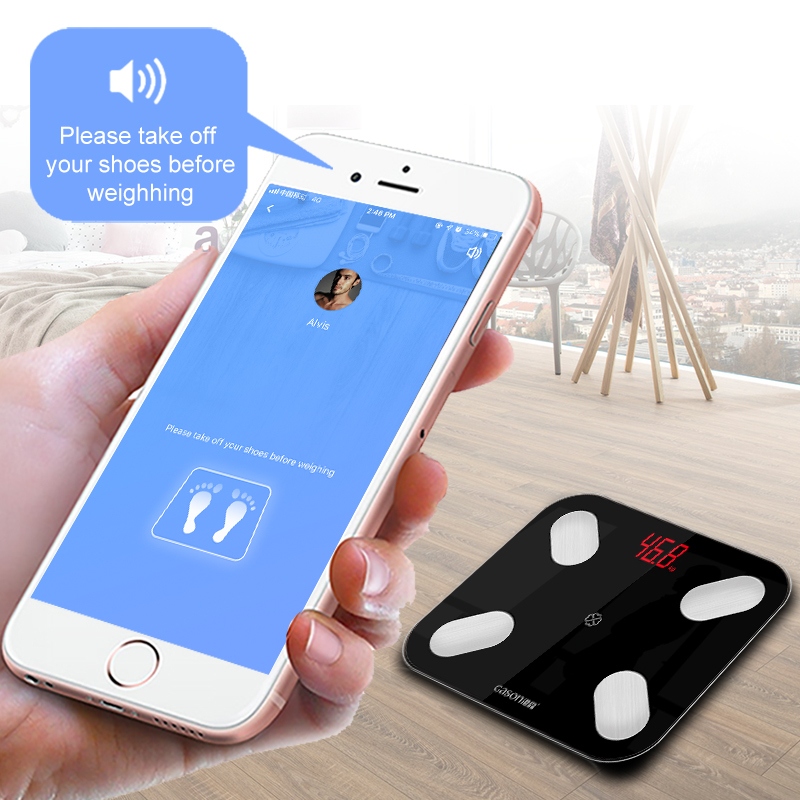 S4 Bilancia Piano Scientifica Smart LED Elettronico Digitale del Peso di Grasso Corporeo Bagno Equilibrio Bluetooth APP Android o IOS