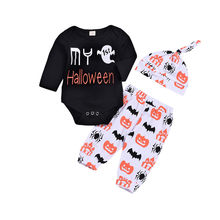 CANIS Todder Cotton First Halloween Newborn Baby Boy Girl Bebe Girl Hats Romper Tops Pants Outfits Clothes Set Clothes 3Pcs(China)