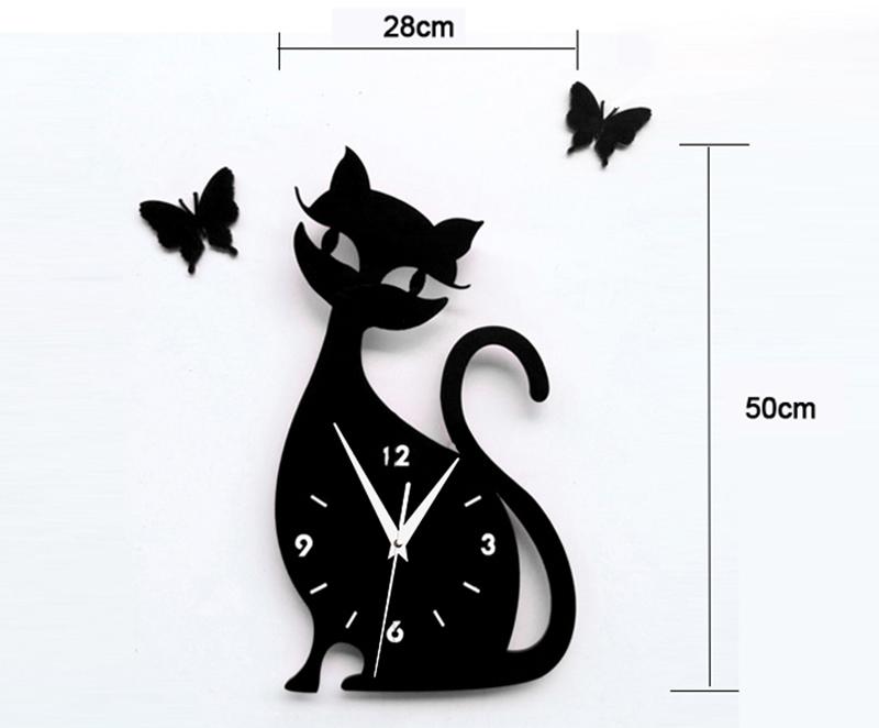 nueva moda x cm d acrlico gatito gato negro mariposa gran diseo moderno del reloj de
