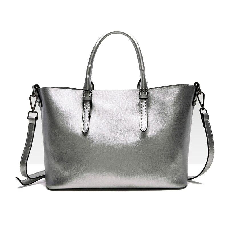 QIANGSHILI Brand Fashion Solid light Cowhide Genuine Leather Tote Shoulder Bag Luxury Handbags Women Bags Designer
