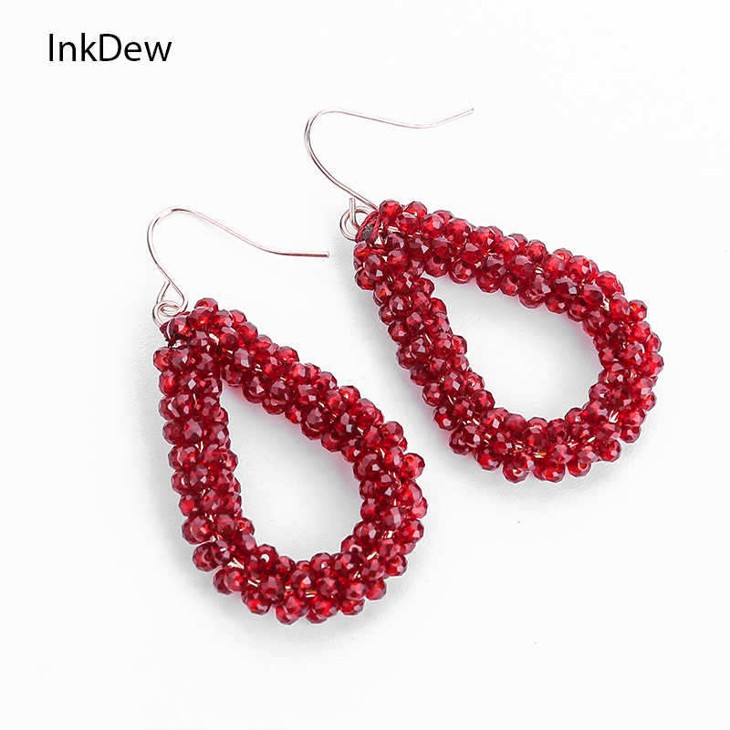 INKDEW Drop Earrings Long Earrings Multicolor Beaded Handmade Threading Cone Shape Crystal Big Earrings for Women oorbellen boho