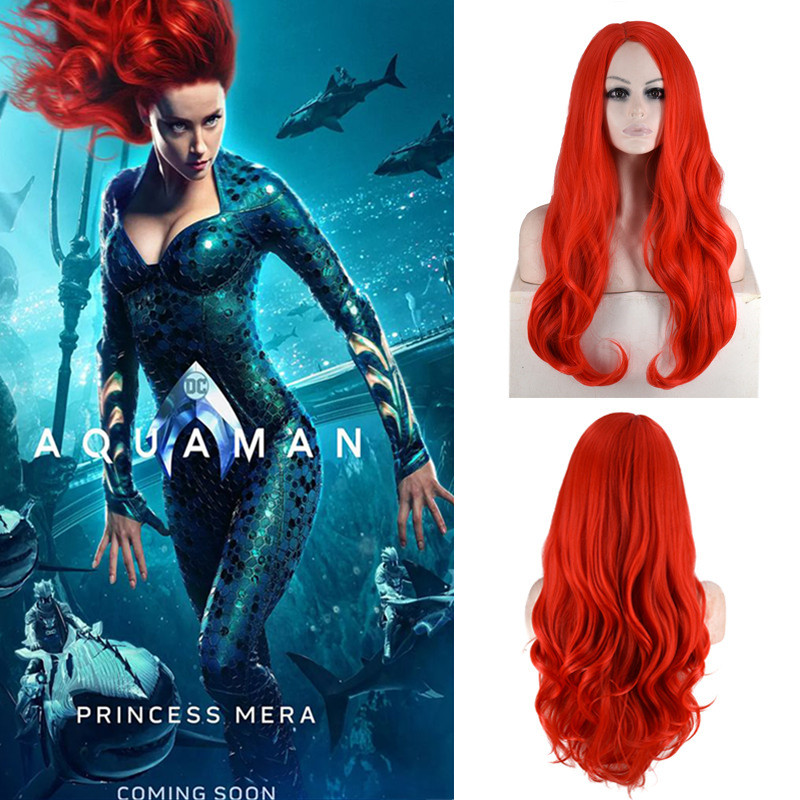 Movie Aquaman Justice League Queen Atlanna Mera Cosplay Wig Women Girls Role Play Wine Red Long Straight Fluffy Hair Wig New