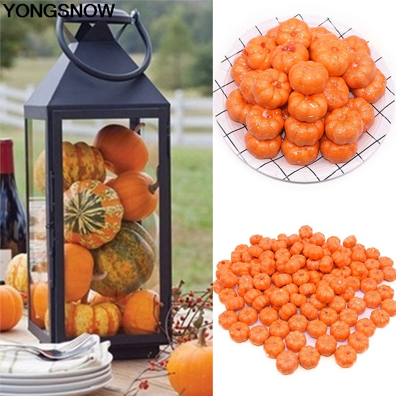 YONGSNOW 25/50pcs Mini Fake Vegetable Simulation Halloween Artificial Pumpkin Diy Craft Home Birthday Party Wedding Decoration