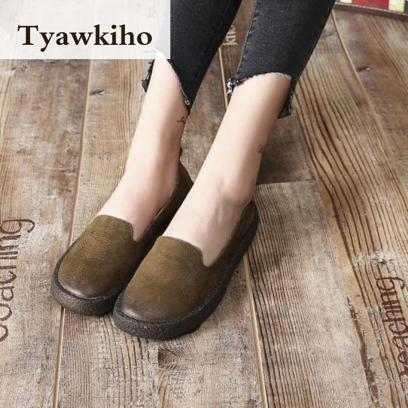 Tyawkiho Women Black Flats Genuine Leather Loafers Women Spring Shoes Soft Bottom Casual Leather Flats Slip On Handmade Moccasin handmade women loafers round toe genuine leather flats female soft moccasin gommino breathable boat shoes chaussure xk052506