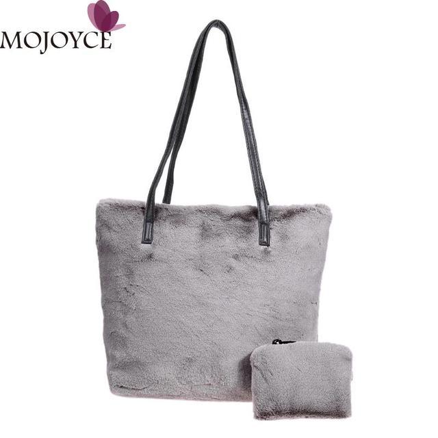 6589cf7966 2pcs set Winter Faux Fur Handbag Women Soft Plush Shoulder Bags Famous  Designer Female Handbags