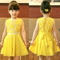 Niñas vestidos de verano sin mangas de moda de ropa Para Niños para 3 4 5 6 7 8 9 10 años de edad los niños de encaje amarillo lindo vestido priness