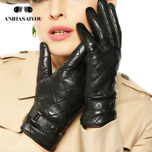 Warm winter women leather gloves embroidered square short warm genuine sheepskin L121NC