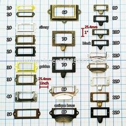 6/12 pçs de bronze antigo dourado preto prateado porta do armário gaveta etiqueta laboratório puxar quadro lidar com arquivo titular cartão nome