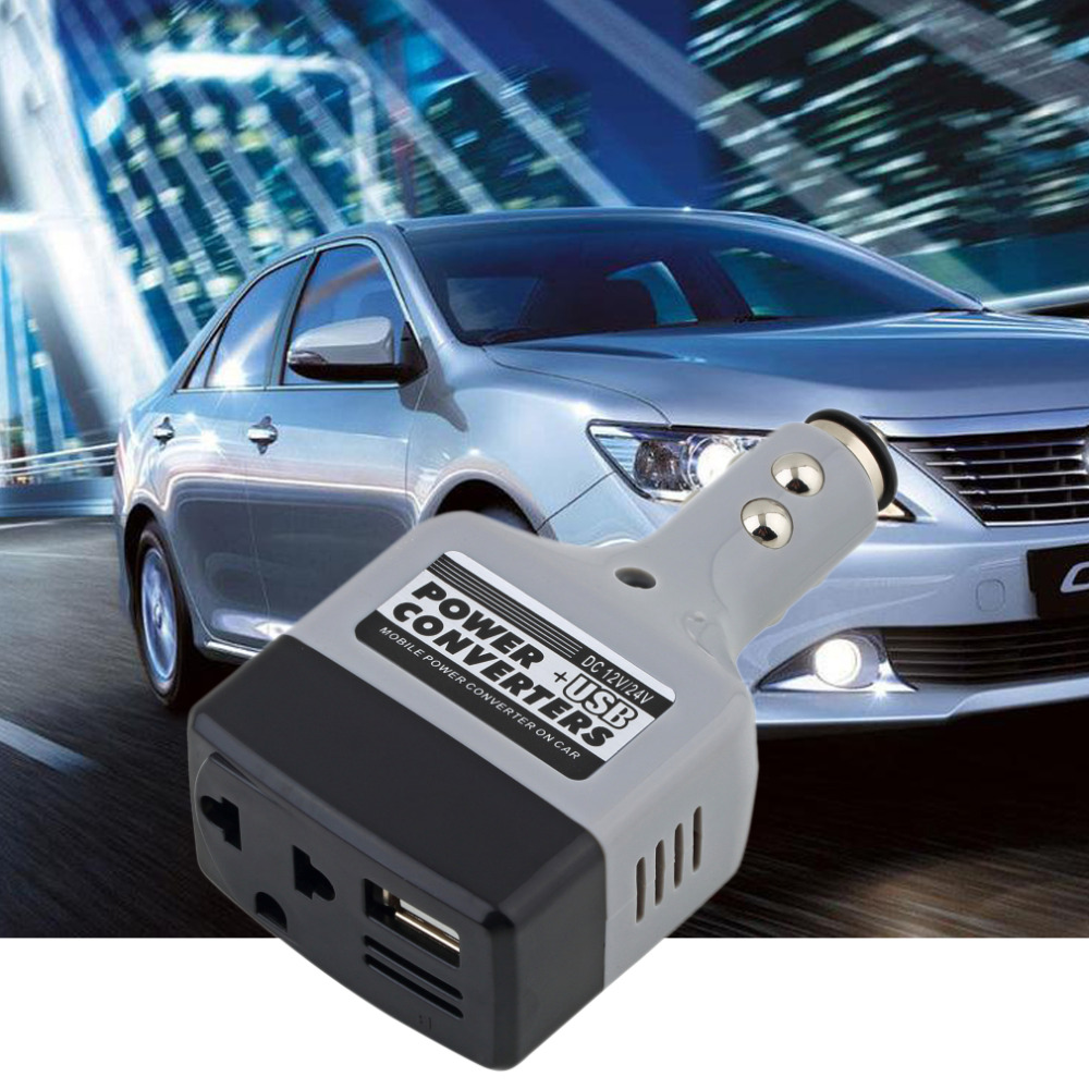 New Arrival DC 12/24 V To AC 220 V/USB 6 V Car Power Inverter Adapter Mobile Auto Power Car Charger Converter With USB Interface