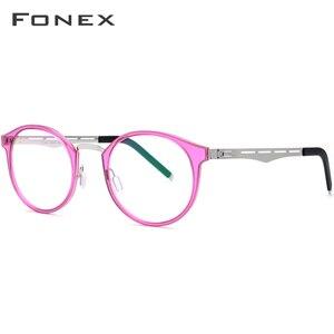 Image 3 - FONEX TR90 משקפיים מסגרת גברים נשים בציר עגול מרשם משקפיים קוצר ראיה מסגרת אופטית משקפיים רטרו ללא בורג Eyewear