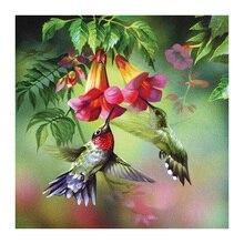 Diamante del bordado de la hermosa naturaleza 3D Diy diamante pintura animales colibrí flores fotos por números bordado con cuentas WZ