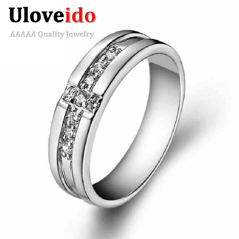 buy uloveido cheap men 39 s wedding ring anillos synthetic cross cz diamond rings. Black Bedroom Furniture Sets. Home Design Ideas