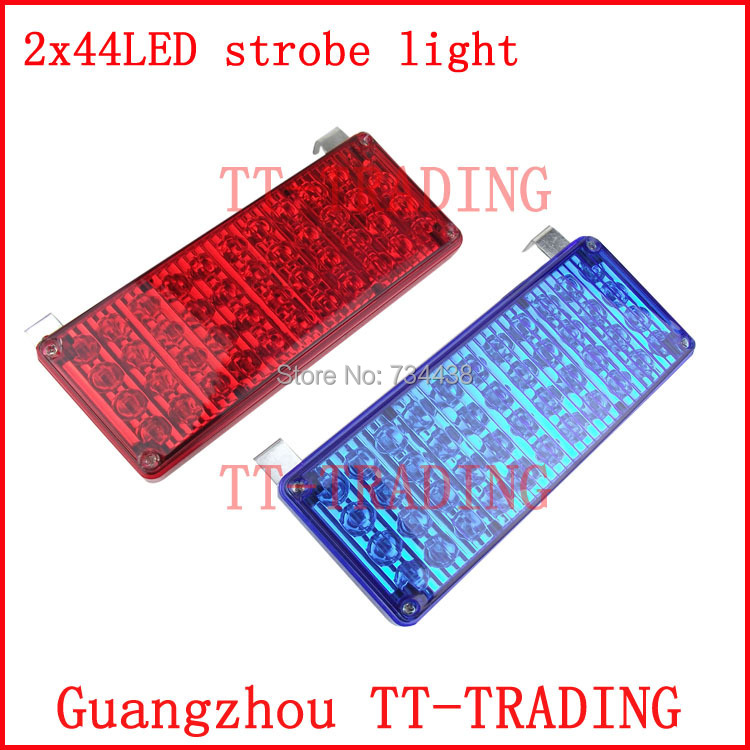 ФОТО 2x44 led high bright vehicle strobe lights police warning lights emergency strobe lamp DC12V RED BLUE