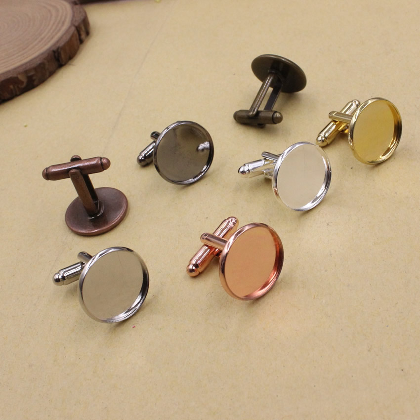 Fit 16mm  Copper  Bright Silver  Gold Mixed  Colors Plated Cufflink Base Cuff Link Settings Cabochon Cameo Base K05476