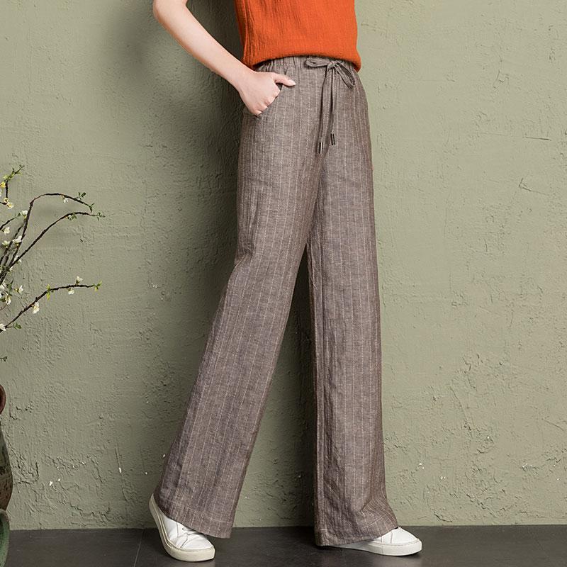 cotton linen wide leg pants women 2019 summer striped Breathable plus size harajuku gothic trousers women palazzo pants capri