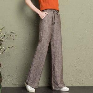 Image 1 - cotton linen wide leg pants women 2019 summer striped Breathable plus size harajuku gothic trousers women palazzo pants capri