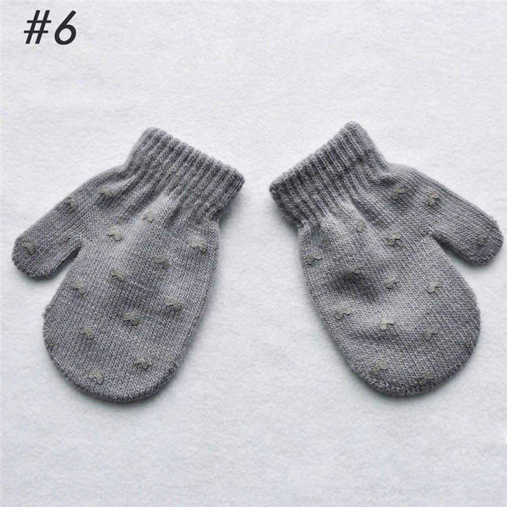 1 пара милых перчаток в горошек со звездами и сердечками для мальчиков и девочек, мягкие вязаные теплые перчатки для детей - Цвет: 6