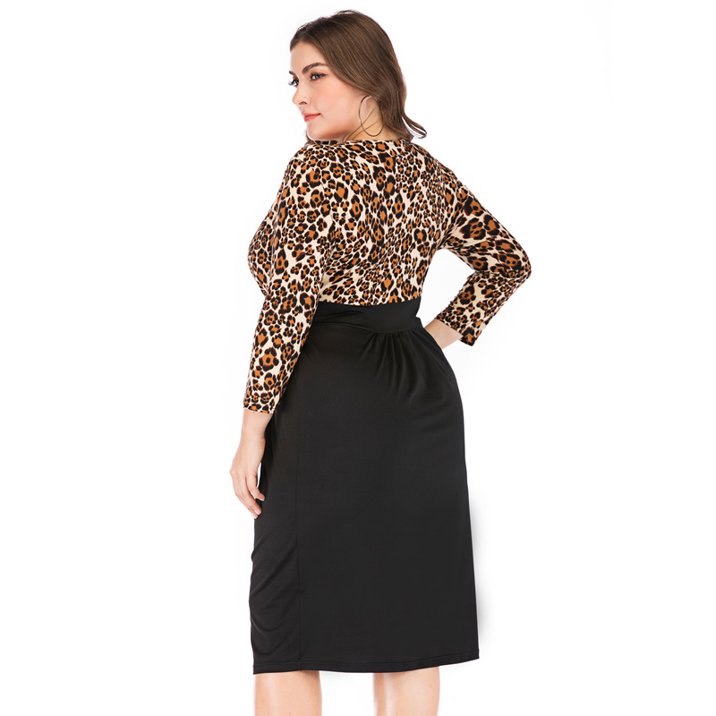 Leopard Dress for Women Summer Dress Long Sleeve Girl Bud V Neck Sexy Vestidos OL Evening Party Dress 5XL Large Size in Dresses from Women 39 s Clothing