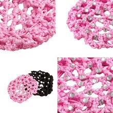 Hot Beautiful Crystal Elastic Hair Net Ballet Dance Skate Hair Snood Net Bun Cover Crochet Hair Women Decor P30