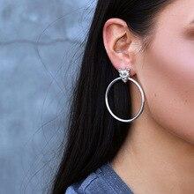 Earrings Round Geometric For Women Jewelry Fashion Leopard Head Hip Hop Style Tide Bohemian Earring