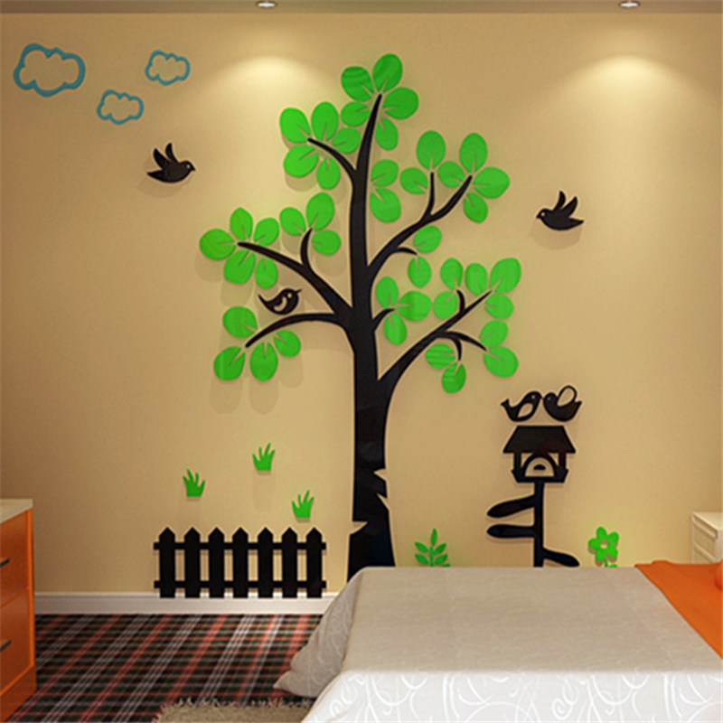 ᑎtree House Acrylic Crystal 3d Stereo Wall Stickers Home Decor Tv