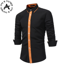 Men Shirt Luxury Brand 2017 Male Long Sleeve Shirts Casual Mens Simple Solid Single Breasted Slim Fit Dress Shirts Mens