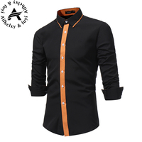 Men Shirt Luxury Brand 2017 Male Long Sleeve Shirts Casual Mens Simple Solid Single Breasted Slim