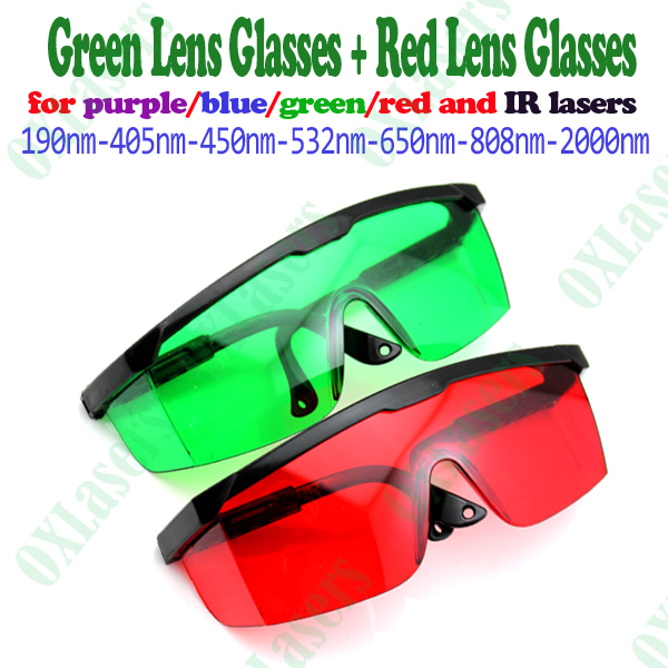 2pieces/LOT red lens and green lens laser safety glasses for blue/red/purple/green  lasers free shipping2pieces/LOT red lens and green lens laser safety glasses for blue/red/purple/green  lasers free shipping