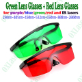 2pieces/LOT red lens and green lens laser safety glasses for blue/red/purple/green  lasers free shipping