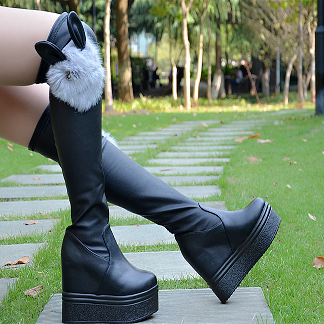 12cm autumn and winter increased height boots Muffin knees boots Stretch boots Flat bottom boots