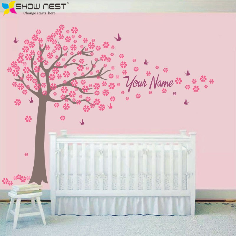 Tree and butterflies decals custome girl or boy name wall for Baby girl wall mural