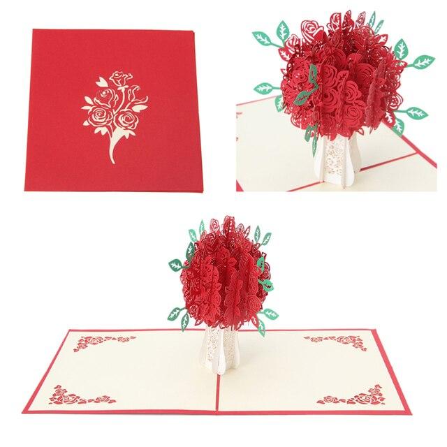 3D Rose Carte De Voeux Pop Up Papier Découpé Carte Postale D'anniversaire De Mariage Valentines Cadeau