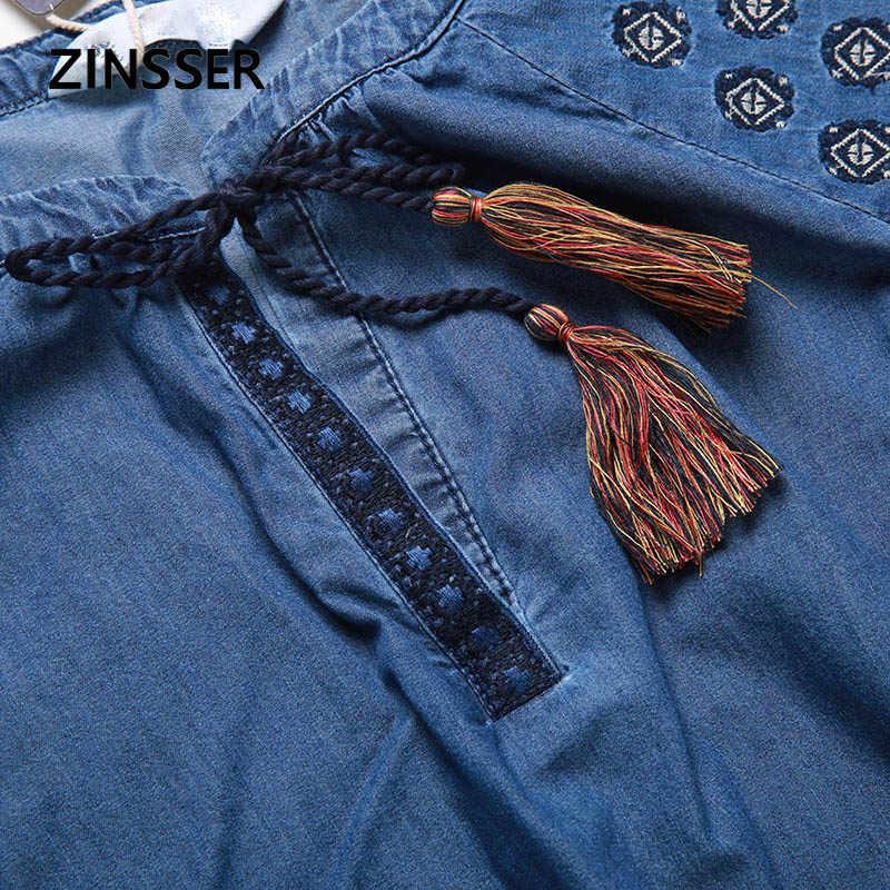 Autumn Winter Women Denim Fancy Dress Loose Casual Embroidery Half Sleeve 100% Cotton Washed Blue Female Lady Dress