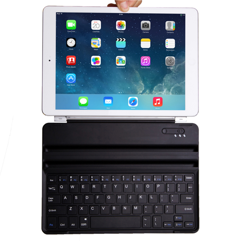Aluminum Bluetooth Wireless Keyboard Case Cover Dock with Stand for Apple iPad Air iPad 5 Ultra Thin Folio Case Black New foldable bluetooth v3 0 keyboard for ipad air black