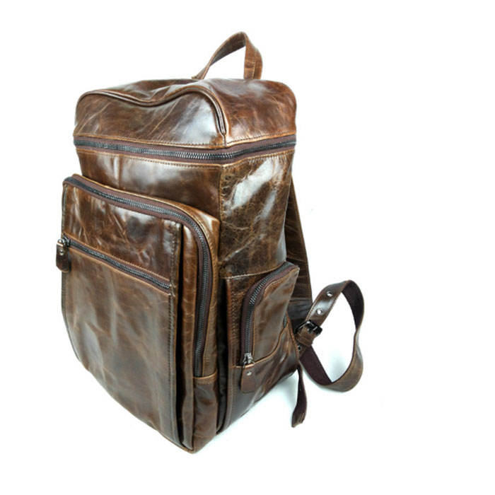 computer Backpack Men Genuine Leather Adults Rucksack Fashion Teenage Boys School Bags Laptop Backpacks for College Students