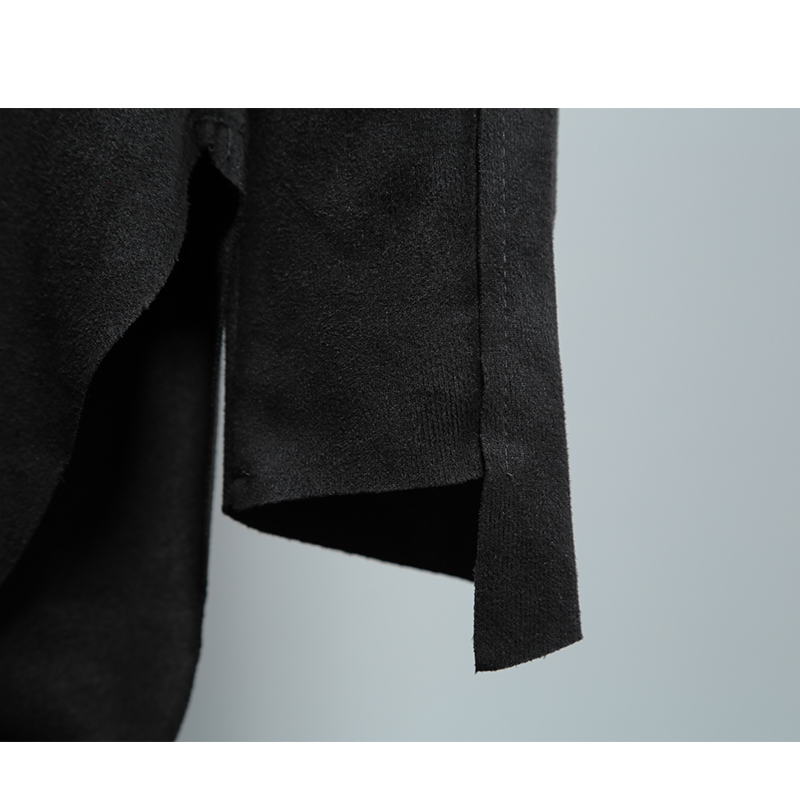 Tailoring Imitation Velvet Leather Long sleeved Slim Shirt High Collar Trend T shirt Stranger Things T Shirt Streetwear Hip Hop - 3