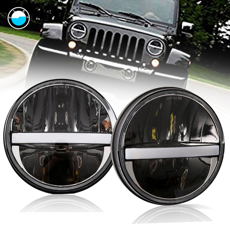 2PCS 7 INCH Round LED Headlights For Jeep Wrangler JK TJ Cruiser Hummer H1 H2 H4 7'' LED Headlights DRL Turn signal . 2x dot 7 inch led headlights turn signal drl bulbs set kit projector 90w for jeep wrangler jk lj jku tj cj sahara rubicon