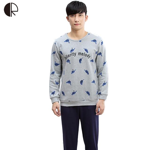 f8944cdbb340 Cotton Sleepwear Long Sleeve O-neck Pajama For Men Spring Autumn Men  Pajamas Set Print