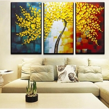 2016 Home Decor New Fashion Europe type Fortune Rich Tree 100% Handpainted Knife Thick Oil Painting On Canvas free Shipping