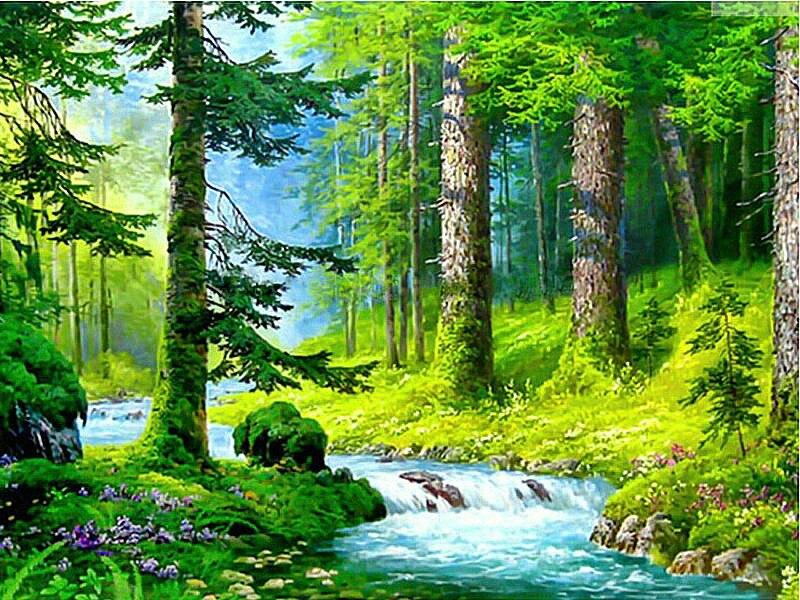 ᗗDIY 5d diamante pintura cristal verde bosque Cruz puntada patrón ...