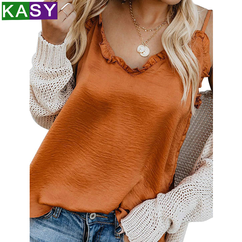 Sexy Bohemian V neck Khaki Summer Chiffon Camis 2019 Women Spaghetti Strap Ruched Trim Backless White Beige Black   Tank     Tops