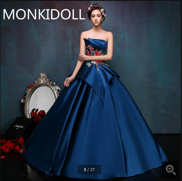 New arrival latest navy blue satin ball gown prom dress strapless ...
