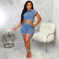 Sexy Fashion Denim Short Two Piece Sets Short Sleeve Turn Down Collar Crop Coat Sashes Short Club Jean Romper Outfit Summer 2019