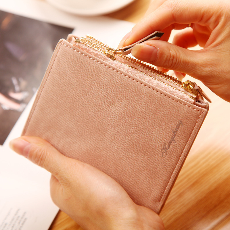 Top Quality Small Ladies Leather Wallets Matte Purse Short Female Coin Pocket Women Wallet Zipper Clutch Coin Purse Credit Card