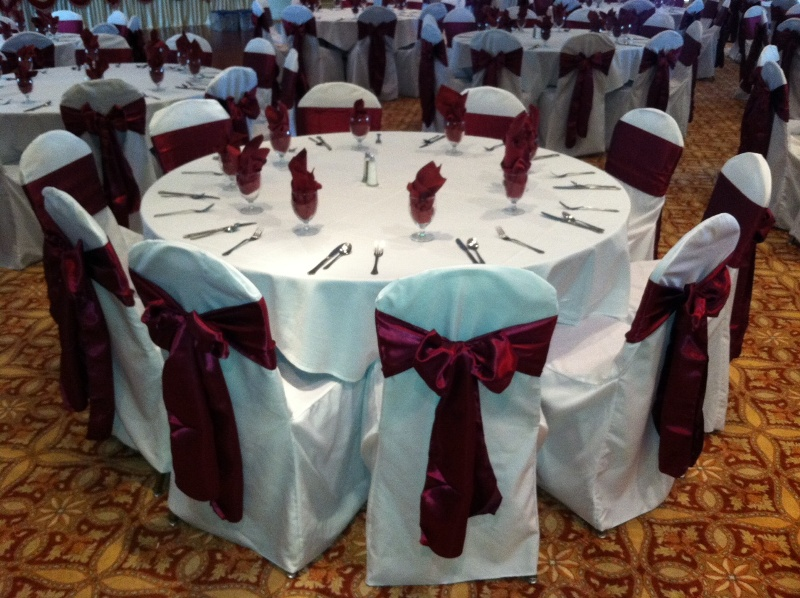 Aliexpress Com Buy 10pcs Lot Wine Red Satin Chair Cover
