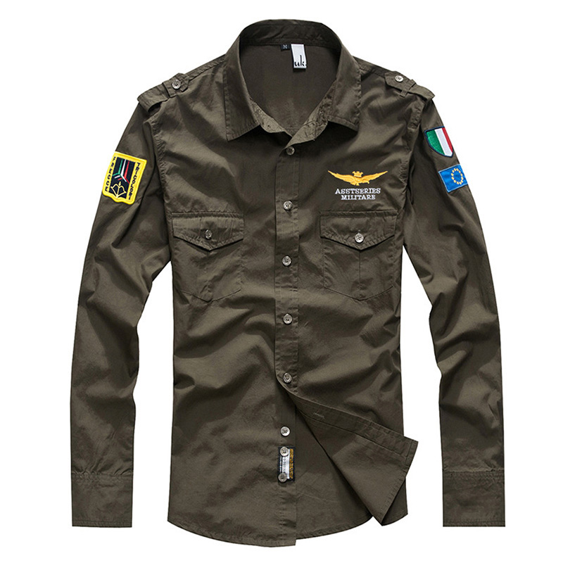 New 4XL Military Mens Shirts Long Sleeve Fashion Embroider Cotton Uniform Pilot Shirt Men Fit Slim Overall Shirt Clothing BE121