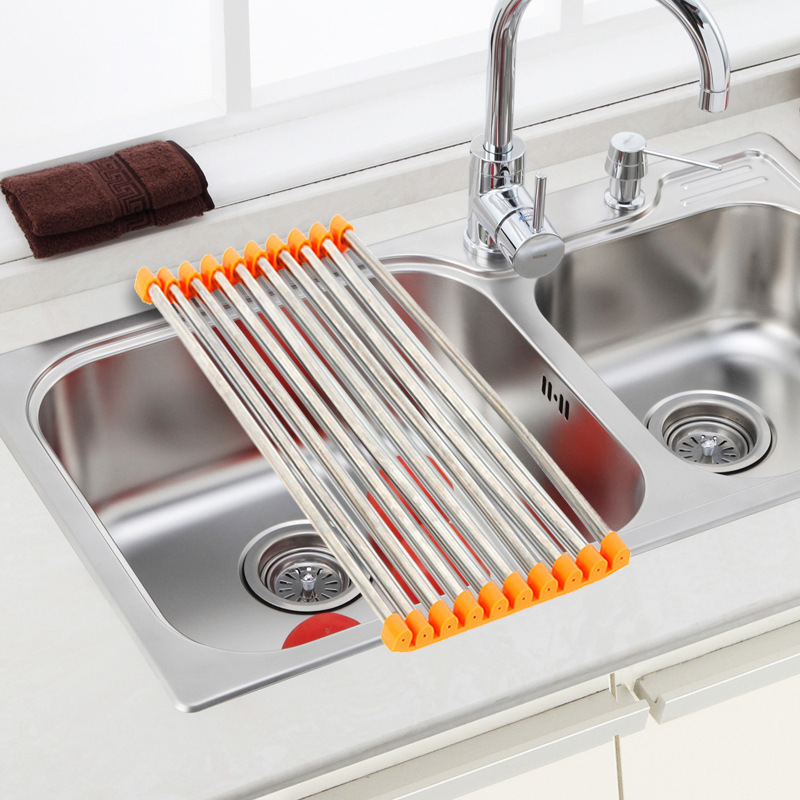 Stainless steel foldable drain rack sink pipes